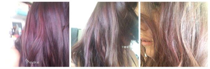 meyonie couleur alex atelier ismérie cheveux violets bleus après un shampoing